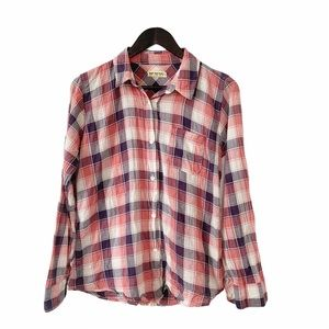 Free People Pink White Blue Plaid Crinkle Shirt
